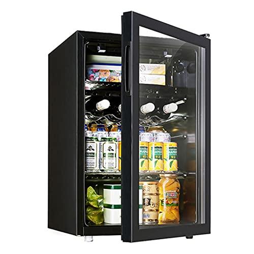 Gabinete de Vino Refrigerador, Frigorífico de Vino, Control de Temperatura doméstica Bodega de Vino Independiente, Doble Zona Frigorífico, Luz de Noche LED (Color : Black, Size : 44.5 * 47 * 67.6cm)