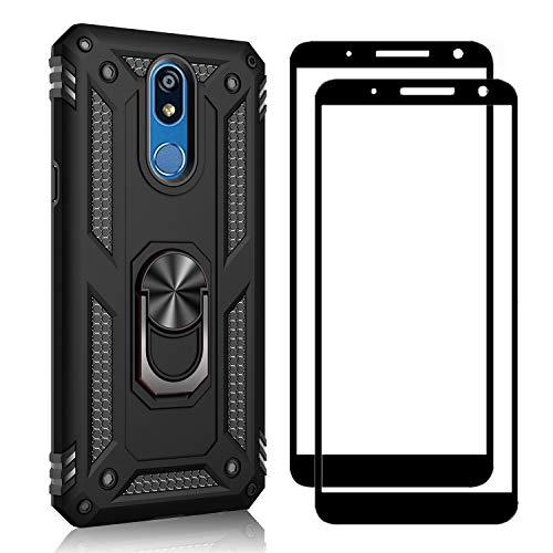 XIFAN Funda + [2 Pack] Cristal Vidrio Templado para LG K40, [Soporte Magnético para Automóvil] Defensa Militar Probada Duro PC y TPU con pie de Apoyo, Negro