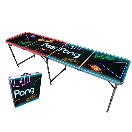 Offizieller Spotlight Beer Pong Tisch | Mit LED Beleuchtung | Premium Qualität | Offizielle Wettkampfmaße | LED Beer Pong Table | Kratz und Wassergeschützt | Partyspiele | Trinkspiele | 100% Spaß