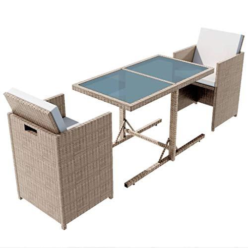 vidaXL - Set di mobili da Giardino, 7 Pezzi Rattan im Trend - Set di mobili da Giardino in polyrattan, Colore: Grigio/Beige