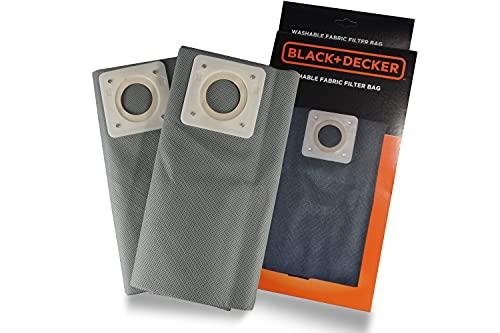 BLACK+DECKER Sacchetti Filtro in Stoffa Lavabili 30 l per Aspiratori Solidi e Liquidi