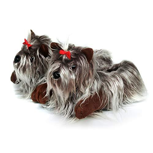 Onmygogo - Zapatillas de perro Yorkshire peludas, color Amarillo, talla 37/39 EU