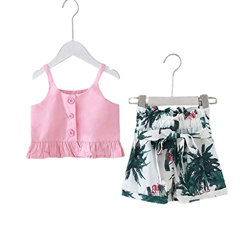 Toddler Baby Girl Summer Clothing Sets Ruffles Camisole Button Top + Leaf Printed Bowknot Elastic Short Pants 2pc Outfits Sets (Pink, 3-4T)