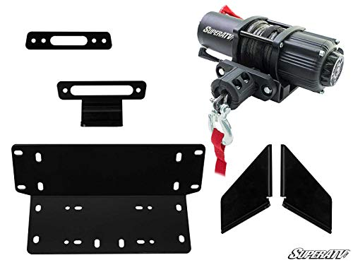 SuperATV 3500 lb Black Ops Winch with Heavy Duty Winch Mounting Plate for 2014+ Kawasaki Teryx/Kawasaki Teryx 4 | Complete Winch Kit ready for install!