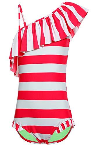 DUSISHIDAN Bademode Badeanzüge für Mädchen Kinder Sommer Schwimmanzug Süße Bikinis Badebekleidung Schulter Ärmel Einteiliger Rot-weißer Streifen XL