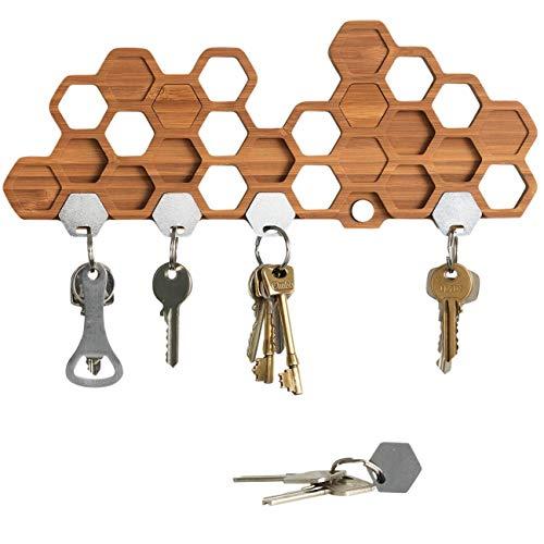 BU Products Magnetisches Schlüsselbrett in Bienenwaben-Form - Dekorative Schlüsselleiste aus Bambus/Holz