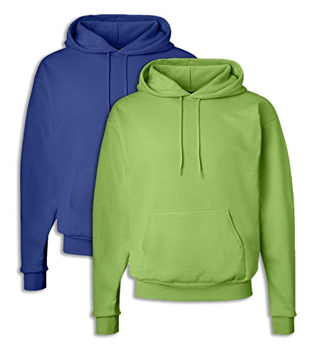 Hanes P170 Mens EcoSmart Kapuzen-Sweatshirt Large 1 Deep Royal + 1 Lime