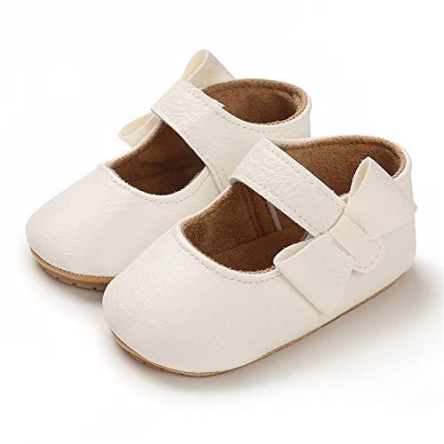 LACOFIA Baby Mädchen Ballerina Kleinkind Bowknot Prinzessin Mary Jane Taufschuhe Baby rutschfeste Lauflernschuhe Weiß 6-12 Monate