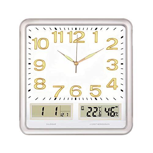 Xiaokeai Decorative Wall Clock Square Multifunction Wall Clock LED Digital Time Temperature Display Clock Night Light Function Wall Clock Silent Wall Clock (Color : Gray)