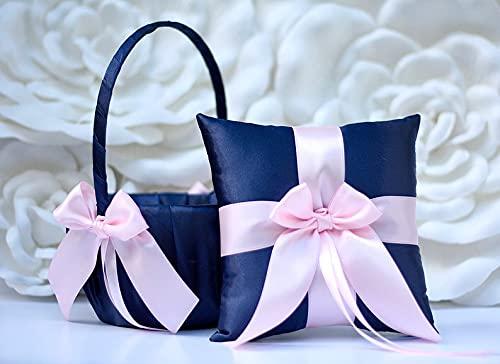 Flower Girl Basket and Ring Max 77% OFF Max 59% OFF Bearer Wedding Blush Navy Pillow Set