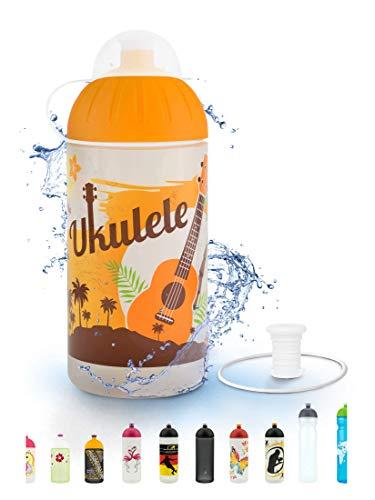 FreeWater Trinkflasche, 500 ml, Ukulele: schadstofffrei, spülmaschinengeeignet, auslaufsicher, langlebig