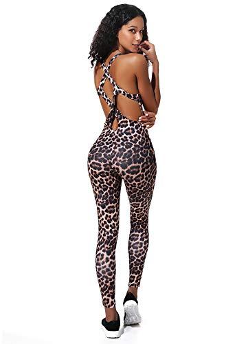 INSTINNCT Damen Sport Rückenfrei Jumpsuit Yoga Bodysuit Overall Leggings Sporthosen Bandage Playsuits Jogging Strampler Hosenanzug Trainingsanzug #2 Leopard Muster S