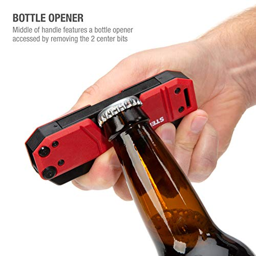 Steelman 10-In-1 Multi-Tip Folding Magnetic Pocket Screwdriver with Carrying Clip and Bottle Opener, Includes 3/16