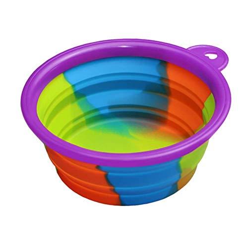 NYKK Hund Reise Silikon Schüssel Tragbare Faltbare zusammenklappbare Haustier Katze Hundefutter Wasser Container Reise Outdoor Bowl Dog Feeder Liefert (Farbe: Blau) lalay (Color : Purple)