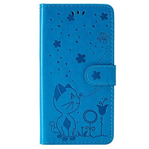 Hülle für Moto E4, The Grafu PU Leder Stoßfest Klapphülle Handyhülle für Moto E4, Brieftasche Schutzhülle mit Kartenfach, Blau