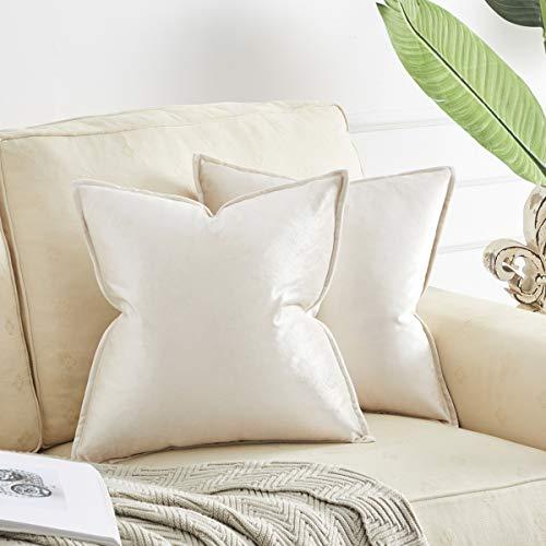 OMMATO Fundas de cojín cuadradas de 40 cm x 40 cm, 2 unidades de fundas de almohada decorativas de terciopelo para sofá, sala de estar, 40 cm x 40 cm, 2 unidades