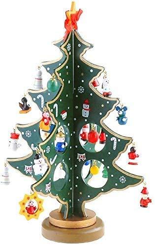 EMAGEREN Weihnachtsbaum Weihnachtliche Tischdekoration Holz-Weihnachtsbaum Miniatur Tischplatte Tannenbaum DIY Schreibtisch Mini Baum Weihnachtsbaum Stehen für Weihnachtsdeko Geschenke Basteln, 30 cm