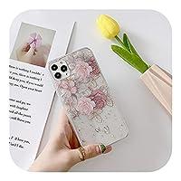 トレンディ かわいいキラキラゴールドフォイルローズフラワークリア電話ケースFor iPhone11 12 Mini Pro XS MAX XR X 7 8 Plus SE2020フローラルバックカバー-L6-for iPhone 7 8 se2