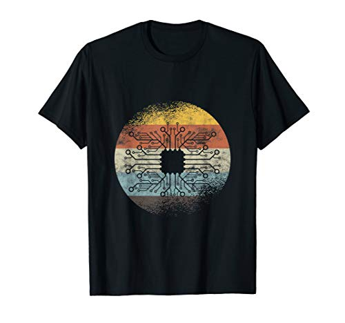Retro-Leiterplatte Elektroniker Computer-Techniker T-Shirt
