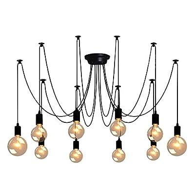 Spider Pendant Lamps 10-Light, Adjustable DIY Ceiling Spider Lamp Light, Industrial Hanging Lights for Resturant, Hotel, Living Room, Dining Room Decoration