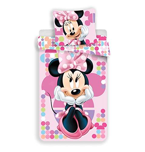 JFabrics Minnie Pink - Juego de cama infantil (funda nórdica de 140 x 200 cm y funda de almohada de...