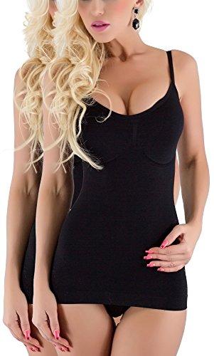 R-Dessous Slim Figur Hemd Shapwear Bauchweg Mieder Lif BH Hemdchen ,2 Schwarz,Herstellergroesse S/M (34-36-38)