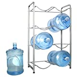 Enrack Water Cooler Jug Rack, 4-Tier Heavy Duty Carbon Steel Water Bottle Holder for 8 Bottles, 3-Gallon or 5-Gallon Water Jug Storage Organizer for Kitchen, Restaurant, and Office. Silver