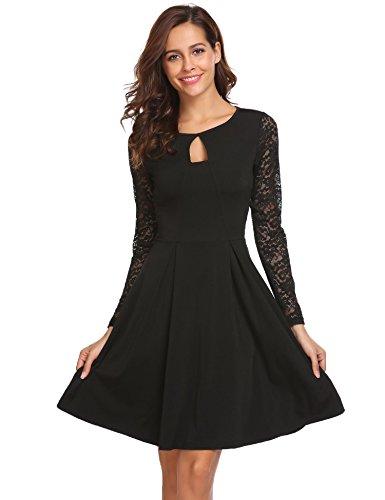 Meaneor Elegancka sukienka koktajlowa z koronką, sukienka balowa, na wesele, odświętna, sukienka na imprezę, o linii A