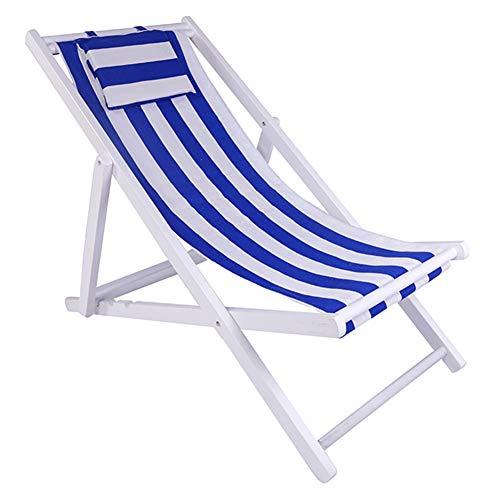 LSXIAO Chaise Longue Garden Beach Transats Transats Structure en Bois Massif Toile Oxford Portable avec Oreiller, 24 Styles (Color : #S, Size : 128X58CM)