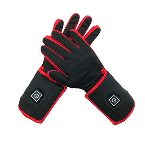 WYBY Electric Heating Gloves-stretch, Breathable, Non-sultry Heating Gloves-outdoor Work/horse Riding/motorcycle Heating Gloves Red black-M