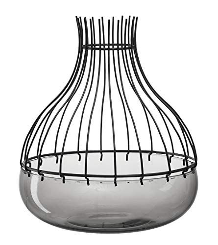 Leonardo Giardino Schale mit Aufsatz schwarz, 2-teiliges Set, handgefertigtes Glas und Metall, 010278