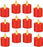 Flameless Votive Candles LED Tea Light Candles Flickering Realistic Dancing LED Candles, Battery Operated Flameless LED Tea Light for Seasonal & Festival Celebration Pack of 12 ,Red