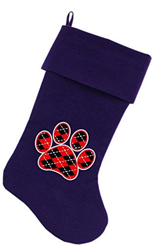 Mirage Pet Products Argyle Paw Red Screen Print Velvet Christmas Stocking Purple, 18'