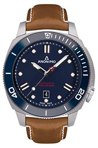 Anonimo nautilo Reloj para Hombre Analógico de Automático con Brazalete de Piel de Vaca AM100206004A06
