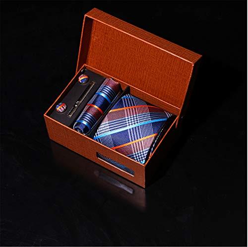 UNIQUE-F Cravate Mariage Cravate Mouchoir Jacquard Cravate des Hommes Et des Pochettes Set Boutons Manchette Pinces À Cravate Vêtements Accessoires Cadeaux Vacances B