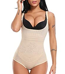MISS MOLY Body Shaper|Damen Shapewear Figurformender Taillenformer Miederbody Shaping Bodysuit Bauch Weg Schwarz/Beige