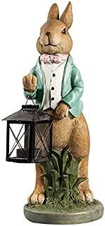 Inveroo American Cute Rabbit Lantern Candlestick Resin Crafts Desktop Ornaments Rabbit Figurines Candlestick Home Decor Wedding Gifts