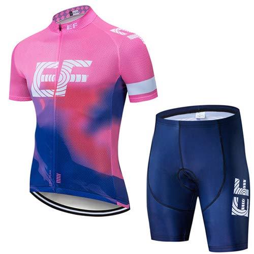 Heren Zomer Fietspakken met korte mouwen Wielrenshirt met 9D Gel Padded Shorts Bib Shorts voor MTB-wielrenners
