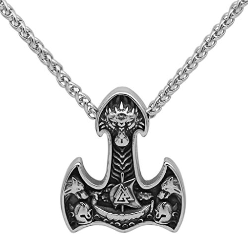 LMCLJJ Collar Mjolnir de Lobo Fenrir de Acero Inoxidable para Hombre, Barco Pirata Vikingo Valknut Thor's Hammer Colgante Amuleto, JoyeríA GóTica Pagano Escandinavo NóRdico
