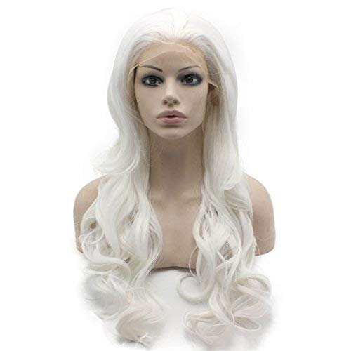 Mxangel Long Wavy Half Hand Selling Tied Synthetic Columbus Mall Lace White Front Cost