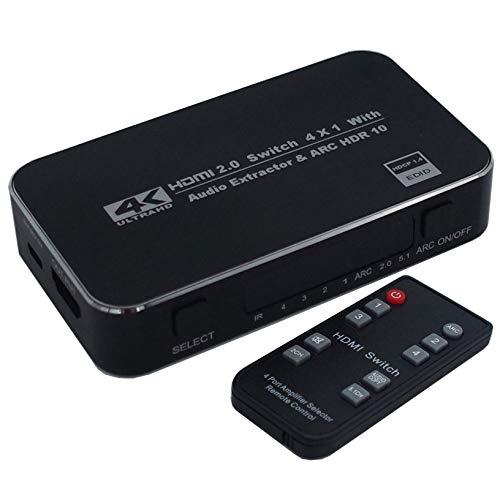 Commutateur HDMI 4x1 avec extracteur Audio 4K 60Hz 3.5mm Audio Optique TOSLINK Ultra HD 4 Ports Commutateur HDMI 1080p Fonction Arc 3D