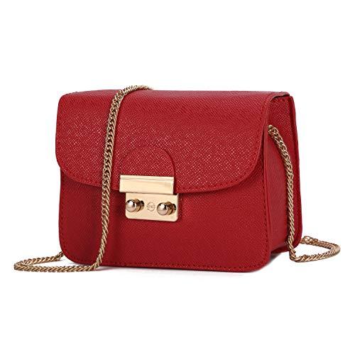 Damen Umhängetasche Kleine Schultertasche Kette Tasche Clutch Mini Vintage Citytasche für Hochzeit Party Disko - Rot
