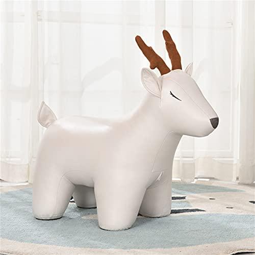 WXXSL Poggiapiedi a Forma di Animale, Sgabello Giocattolo per Bambini Ottomano Decorative Sedie, Tessuto Eco-Tech Facile da Mantenere,Bianca,Deer