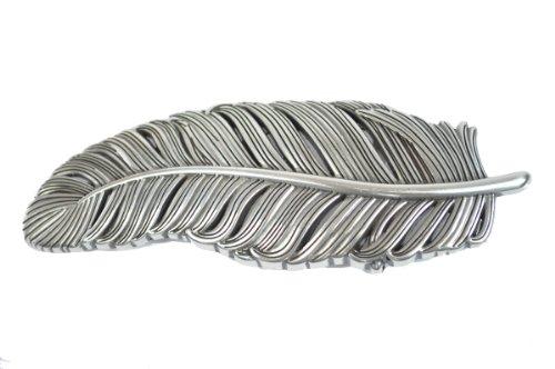 VaModa Gürtelschließe Wechselschließe Gürtelschnalle Buckle Modell Feder, Silber, 14x6cm