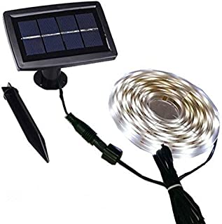 Led Garden Strip Lights Solar Powered for House Deck Porch Pool Wall Decoration, Auto ON/Off, 2 Lighting Modes, Flexible a...