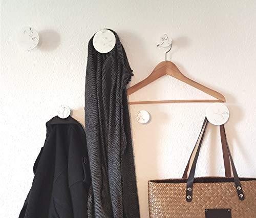 Libaro Wandhaken marmoriert 6er Set, 3 kleine und 3 große Kleiderhaken, runde dekorative Garderobenhaken (weiß)