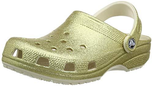 Crocs Unisex-Erwachsene Classic Glitter Clog Holzschuh, Hell Gold, 39-40 EU