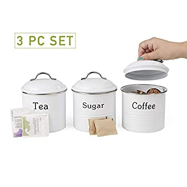 Mind Reader 3 Piece Coffee, Sugar,Tea Metal Canister Set, White