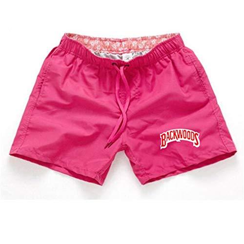 Backwoods Pantalones Cortos para Hombres Pantalones de Surf de Verano Pantalones de Playa para Hombres Pantalones Cortos para Hombres y Mujeres Rosa S