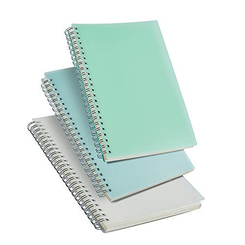 3 Pack A5 Spiral Graph Notebook with 120gsm Thick Paper, Grid Spiral Notebook with Plastic Hardcover and Elastic Band Closure, 80 Sheets Per Pack 5.7X 8.3 inches